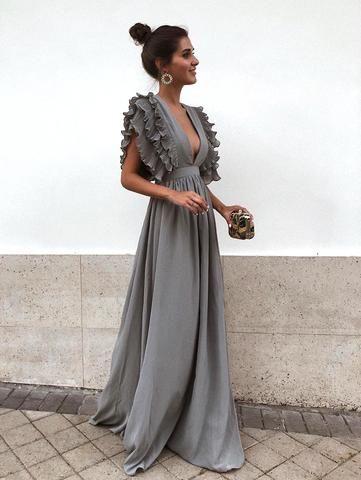 d2af1a3a4c4 V-neck Open Back Solid Color Maxi Dresses in 2019