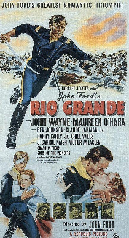 John Wayne Movie Posters Rio Grande ist ein US-amerikanischer Western von Regisseur John Ford aus dem Jahr 1950, der letzte Teil von Fords Kavallerie-Trilogie (1. Teil: Bis zum letzten Mann, 2. Teil: Der Teufelshauptmann).