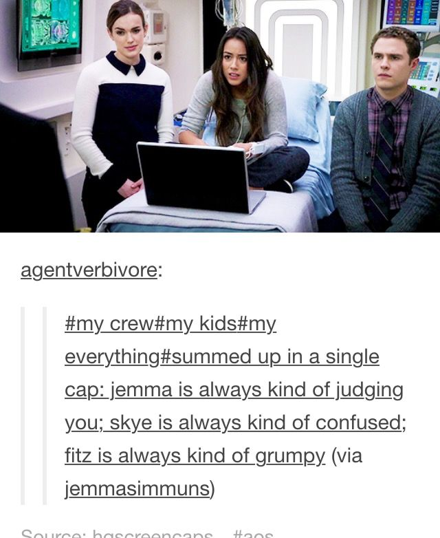 Simmons, Skye and Fitz. The thing that upsets me the most is that we never see…