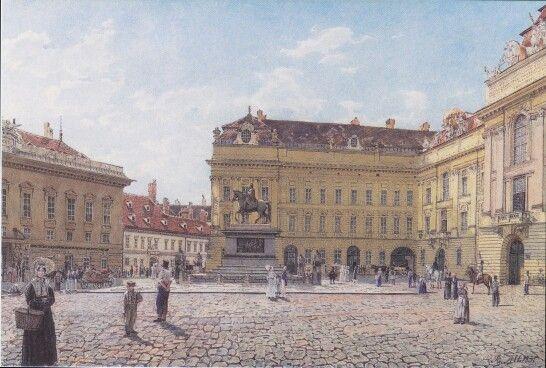 Rudolf von Alt. The Josef square in Vienna 1831