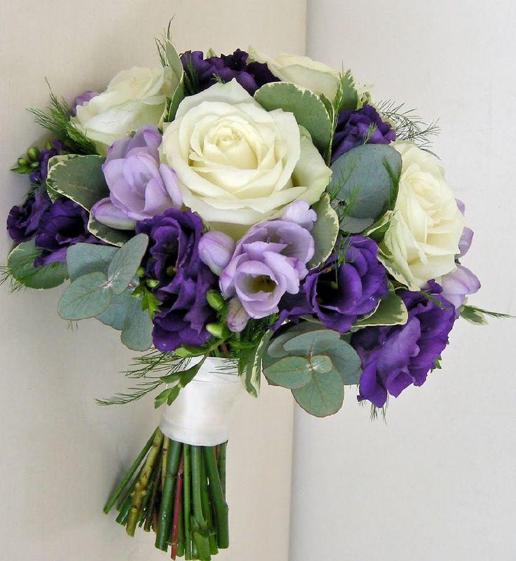 Purple Lavender Cream Rose Posy Wedding Bouquet