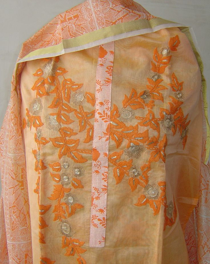 Chanderi suit with embroidey & zari accents. For orders and inquiries, please mail us at naari@aninditacreations.com.  Like us at www.facebook.com/naari.aninditacreations