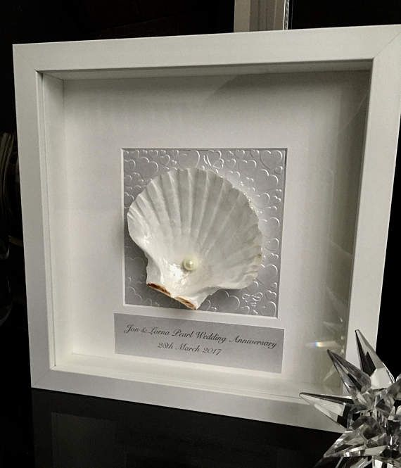 30th Wedding Anniversary gift. Pearl Anniversary. Shell art.