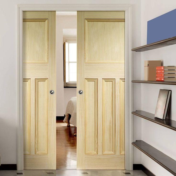 Double Pocket Vine DX Clear Pine Solid Door. #pocketdoors #pinepocketdoors #pinepocketdoorpair