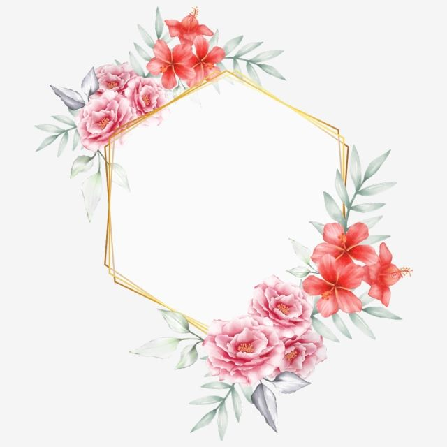 Watercolor Floral With Golden Geometric Frame Hand Drawing Peony