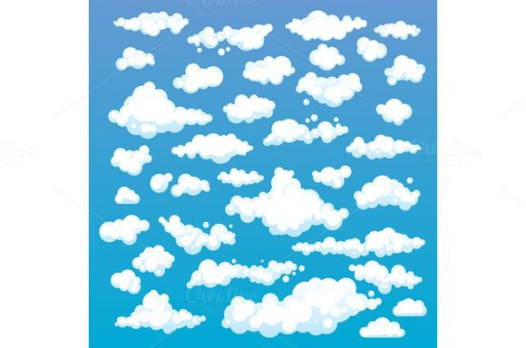 Cartoon Clouds Set On Blue Sky by Rommeo79 on @creativemarket