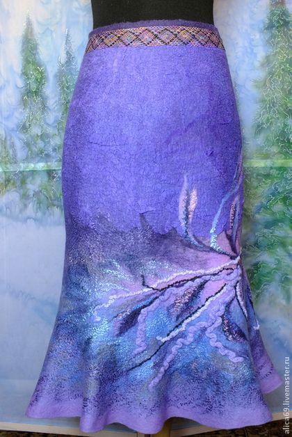 Юбки ручной работы. Ярмарка Мастеров - ручная работа. Купить Валяная юбка ..Южный ветер. Handmade. Тёмно-фиолетовый, Валяние