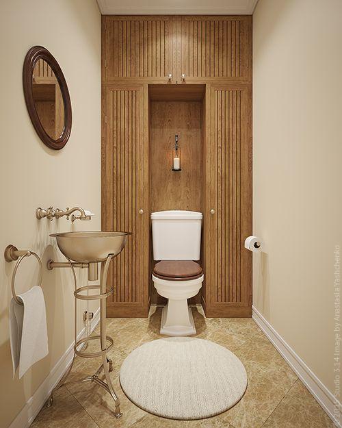 Туалетная комната в стиле ретро: дерево и медь.
