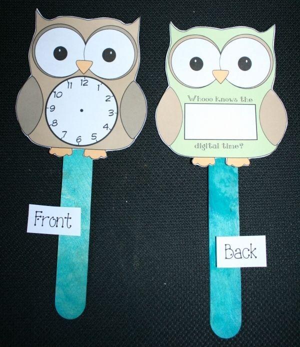 Telling Time Owl Clock Paddles