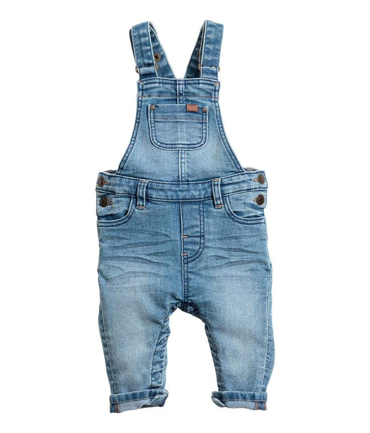 Check this out! Bib overalls in soft stretch denim. Adjustable suspenders with snap fasteners, bib pocket, front pockets, and back pockets. Seam at waist, fasteners at sides, and concealed fasteners at gusset and along legs. - Visit hm.com to see more.