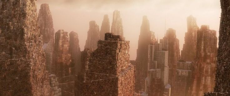 In the film Wall-E skyscrapers of waste dominate the horizon in a world too damaged to sustain human life. Image © Pixar