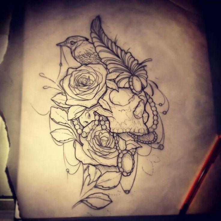 #skull #girly #rosetattoo