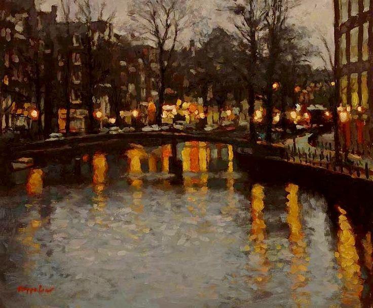 Oudezijds Voorburgwal in the Evening by Frans Koppelaar
