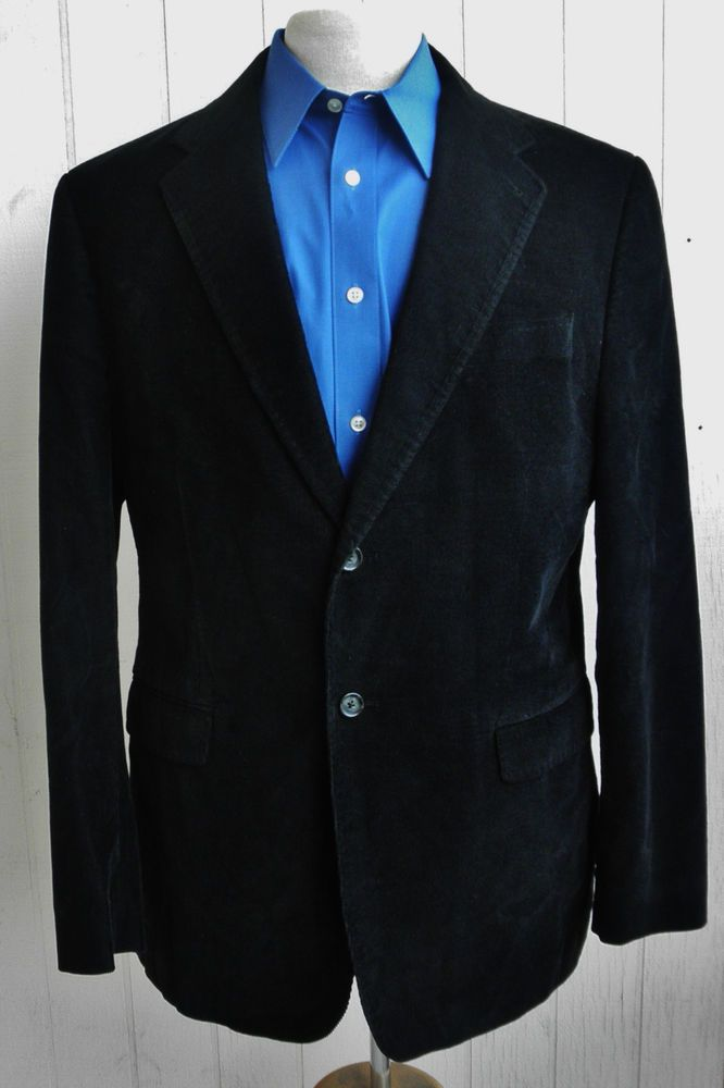 EXPRESS Mens Black Corduroy Cotton Two-Button Double-Vented Sport Coat 44R #Express #TwoButton