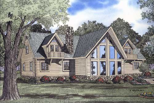 3 Bedroom, 2 Bath Log Cabin House Plan – #ALP-06UG…