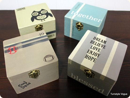 Wooden boxes transformed to gift boxes with paint