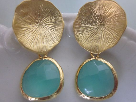 Aqua Blue Mint Earrings Gold Mushroom Coral - Sterling Silver Posts - Bridesmaid Earrings - Wedding Earrings Mint Wedding Jewelry $33.17