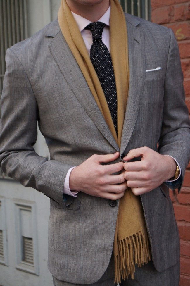 Men's suit with scarf