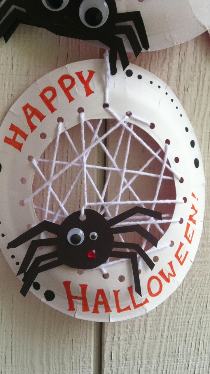 Halloween Crafts For Kids Paper Plate And String Spider