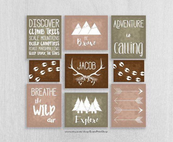 Woodland Nursery Art Prints Set of 9 - Adventure Nursery - Be Brave, Explore - Childrens Art - Personalized Nursery Decor - Camping Nursery