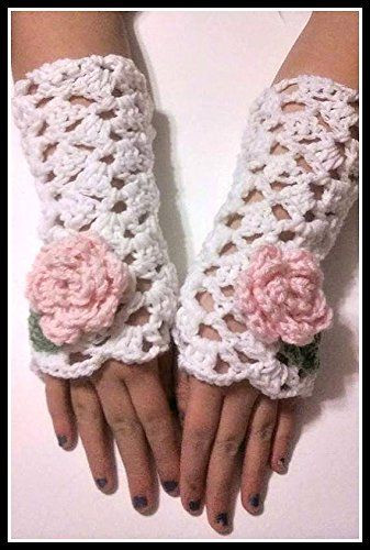Hand Crocheted White with Pink Rose Fingerless Mittens, Victorian Fingerless Gloves Hand Warmers