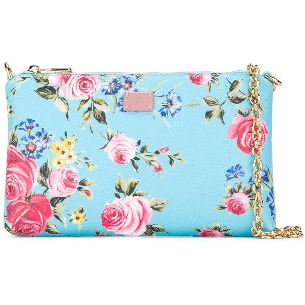Dolce & Gabbana floral print chain clutch bag (173.795 HUF) via Polyvore featuring bags, handbags, clutches, blue, floral handbags, floral purse, blue purse, chain handle handbags and genuine leather purse
