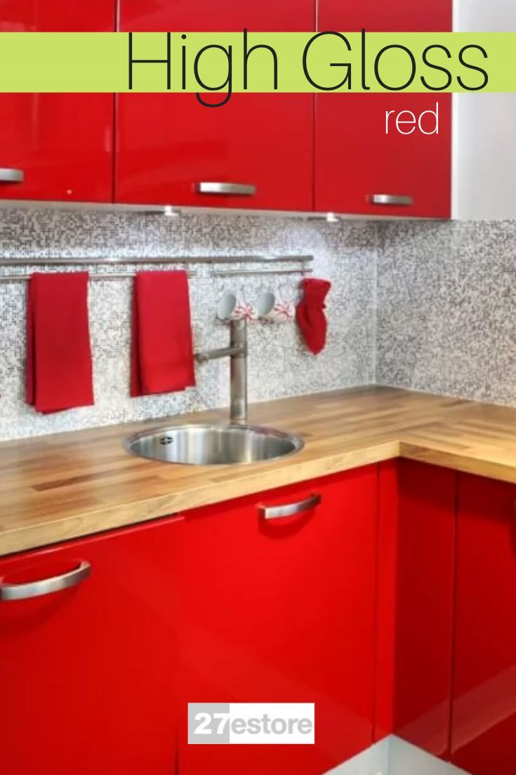 High Gloss Polyester Red In 2020 Rustic Kitchen Design Rustic Kitchen Rustic Kitchen Decor