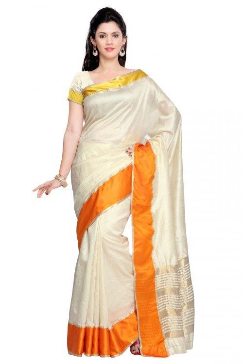 Cream Tusser Silk Zari Border Saree with Tusser Silk Blouse Piece