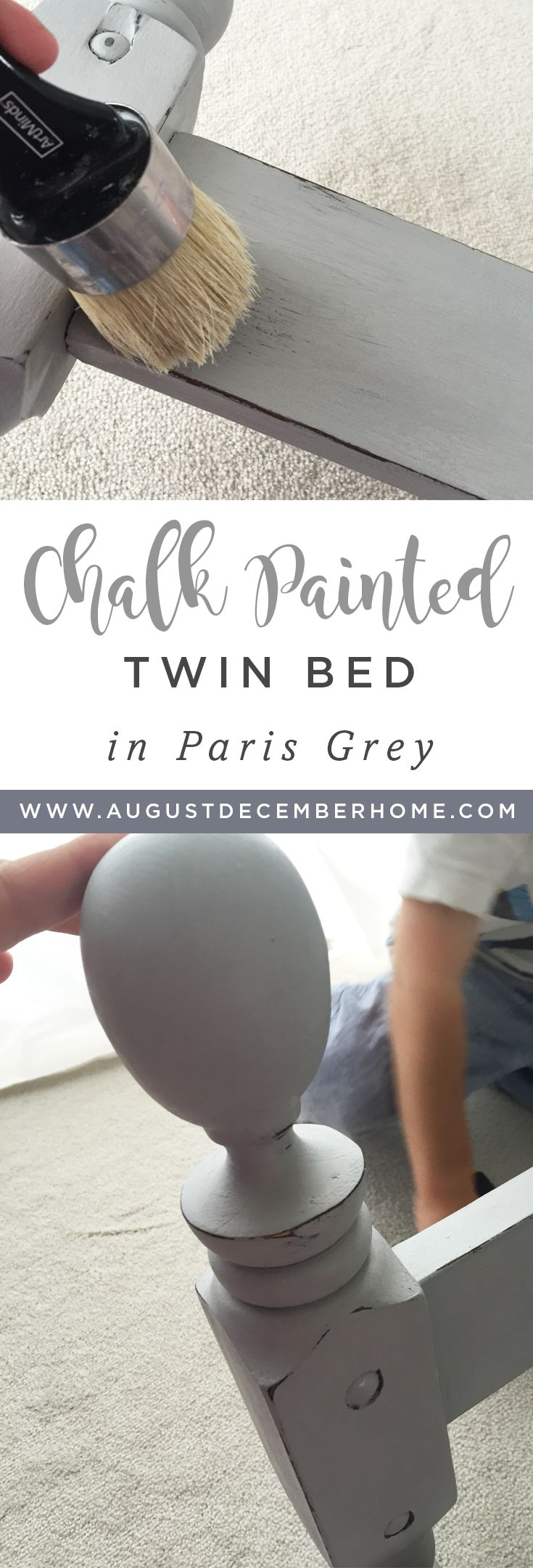 Annie Sloan Chalk Paint in Paris Grey. Painted kids bed.