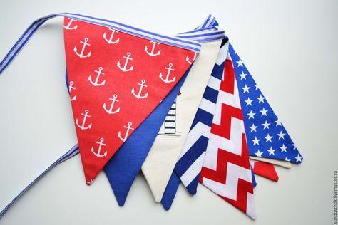 Купить Большая гирлянда из флажков в морском стиле - морская гирлянда, гирлянда и флажков, флажки