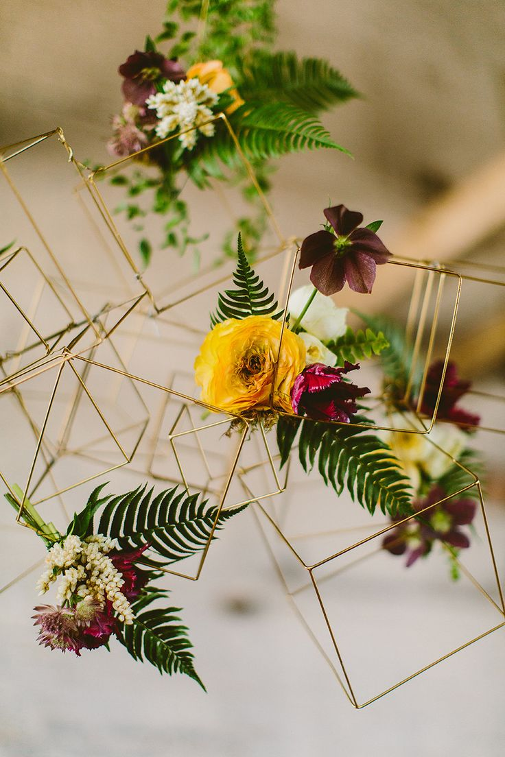 Ferns and geometrically inspired structure. Event Design: Sebesta Design | Floral Design: Sebesta Design. Photography: Redfield Photography - www.redfieldphoto.com/ Read More: http://www.stylemepretty.com/2014/06/30/modern-organic-inspiration-shoot/