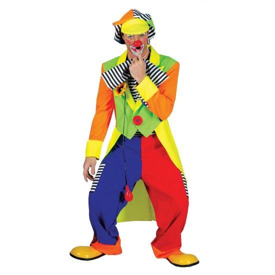 Fel gekleurd clowns kostuum voor volwassenen. Dit clowns kostuum is compleet met jasje, broek en een petje. Maat: one size, ongeveer L.
