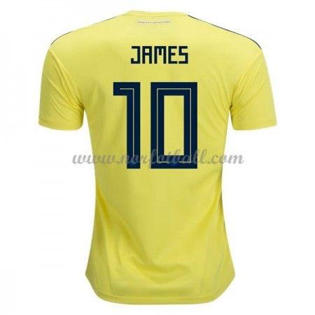 Billige Colombia Drakt VM 2018 James Rodriguez 10 Kortermet Hjemme Fotballdrakter