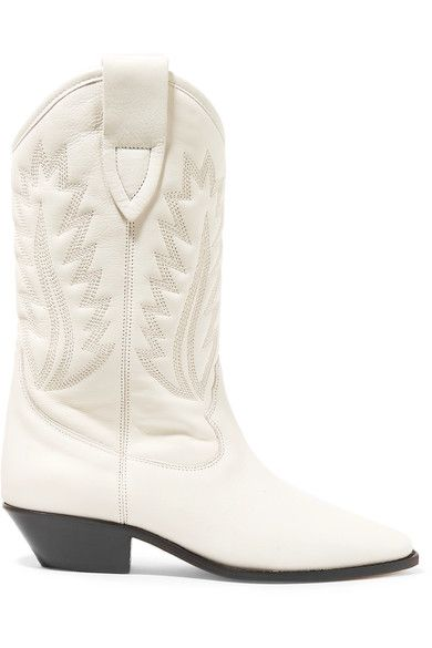 Isabel Marant - étoile Dallin Embroidered Leather Boots - White - FR39