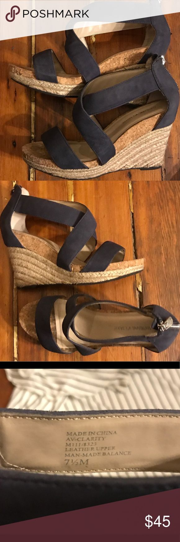 Adrienne Vittadini Navy Leather Espradille Wedge Worn once!  100% Leather upper 2 in wedge heel - comfortable  Back silver toned zipper Made in China   Clean/smoke free home.   Bundle and save 15% :) Adrienne Vittadini Shoes Sandals