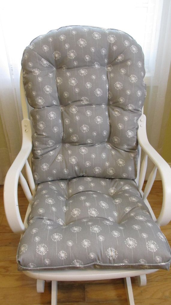 free ship glider cushions set in grey with white dandelions baby nursery rockers rocking chair dutailier replacement