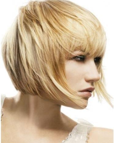 Taglio capelli medio a caschetto sfilato con frangia inverno 2014