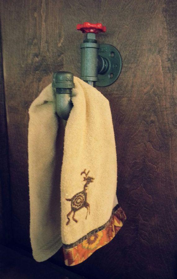 Bathroom Hand Towel Rack - Industrial Hand Towel Rack - to see more go to https://www.etsy.com/shop/desertandiron