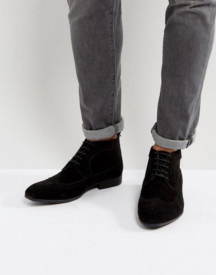 ASOS Brogue Chukka Boots In Black Faux Suede - Black