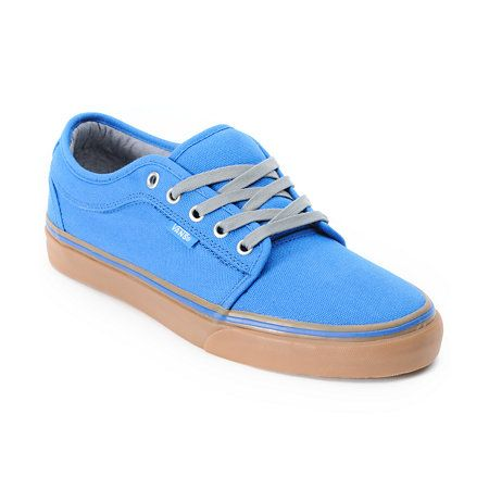 Like the pairing of the brown gum with the bright blue.  Vans Chukka Low Blue Canvas & Gum Shoe