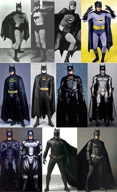 "All the ""real world"" Batman costumes from the serials, TV show, and movies. They do get better over time, don't they?"