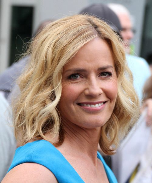 Elisabeth Shue Hairstyle - Medium Wavy Casual. Click to try on this hairstyle and view hair info and styling steps!