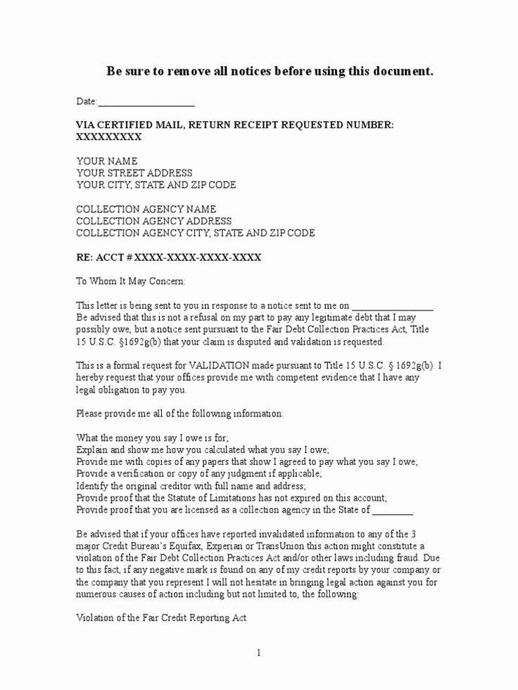 40 Debt Validation Letter Template Credit repair letters