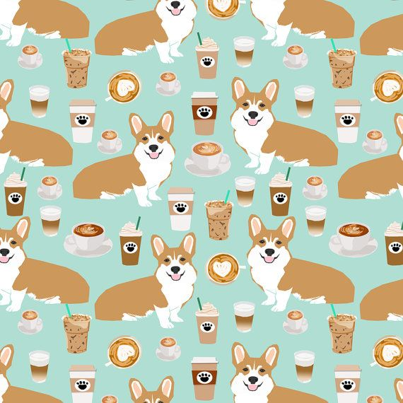 1 yard (or 1 fat quarter) of corgis and coffee mint latte fabric cute cafe fabric coffee fabrics cute mint cafe latte fabrics by designer petfriendly. Printed on Organic Cotton Knit, Linen Cotton Canvas, Organic Cotton Sateen, Kona Cotton, Basic Cotton Ultra, Cotton Poplin, Minky, Fleece, or Satin fabric.  Available in yards and quarter yards (fat quarter). This fabric is digitally printed on demand as orders are placed. Unlike conventional textile manufacturing, very little waste of fabric…