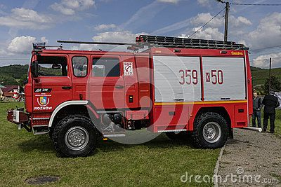 Modern Fire department vehicle in the village  Roznow , Poland. Europe.