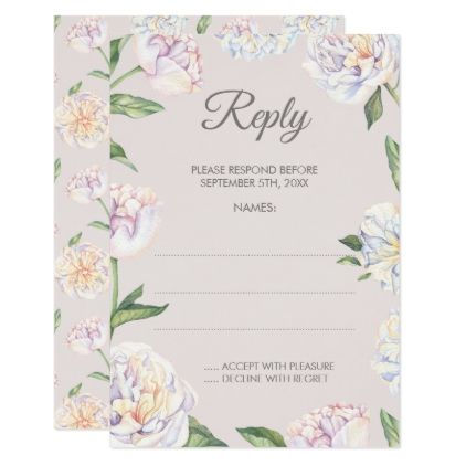 Peony Floral Mauve Wedding Reply Cards - spring wedding diy marriage customize personalize couple idea individuel