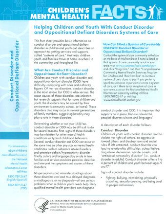 Helping Children and Youth With Conduct Disorder and Oppositional Defiant Disorder: Systems of Care