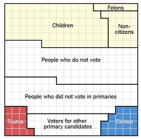 According to analysis, only 14% of 221 million eligible U.S. voters (9% of whole nation of 324 million) chose Trump or Clinton as the 2016 Presidential nominees.