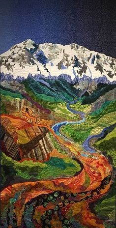 """Rocky Mountain Poison"" by Luana Rubin.  Water is Life exhibit at New England Quilt Museum in Lowell, Massachusetts, through April 29, 2017"