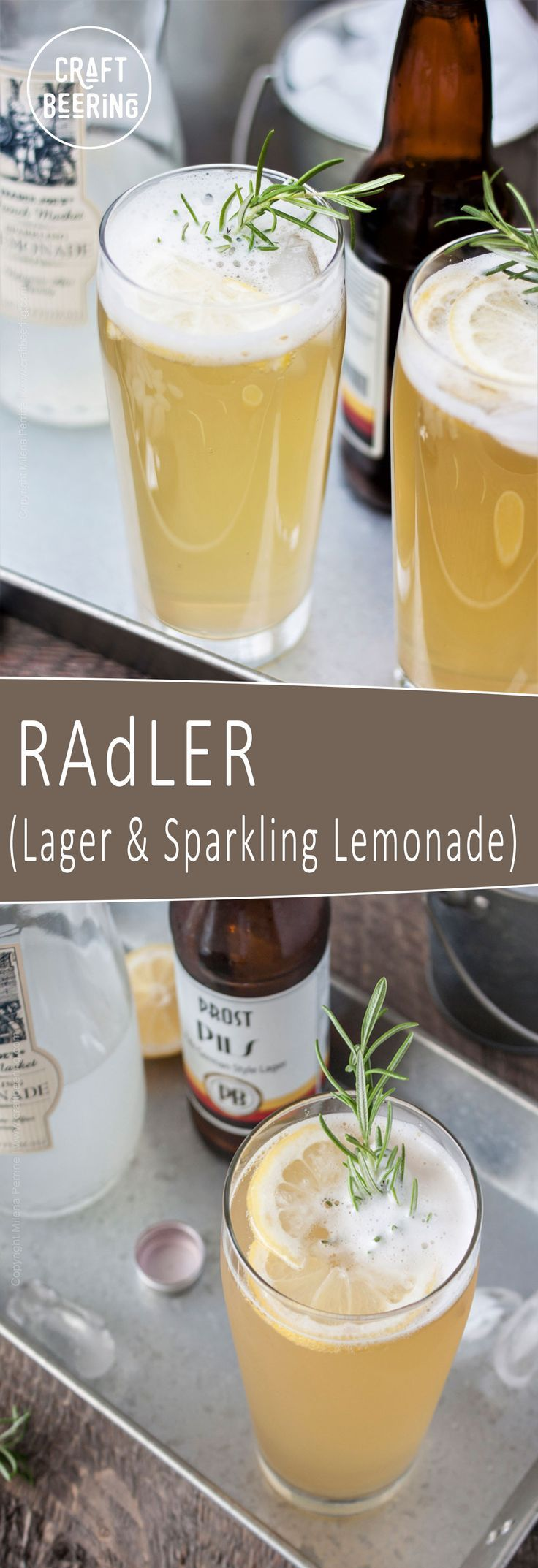Radler beer cocktails are so refreshing! German Pilsner with Sparkling Lemonade and a rosemary garnish. Summer's official thirst quencher!
